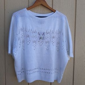 Investments Sweater White Pullover Open Knit